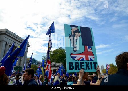Peoples march anti brexit demonstration in london oct 20th 2018 UK - Stock Photo
