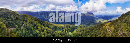 Evergreen ancient Gondwana aged rainforest in Dorrigo National park covered by thick gum-tree woods between mountain ranges along Waterfall road on a  - Stock Photo