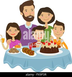 Happy family celebrating. Holiday concept. Cartoon vector illustration - Stock Photo