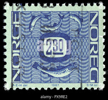 Postmarked stamp from Norway in the Ornaments series issued in 1987 - Stock Photo