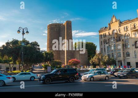 Azerbaijan, Baku, May 15, 2018. Maiden Tower - Stock Photo