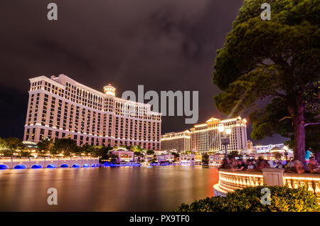 Long exposure of the Bellagio Hotel at night - Stock Photo