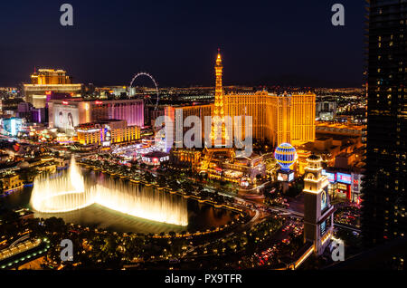 Long Exposure of the Bellagio Fountains and Las Vegas Strip at night - Stock Photo