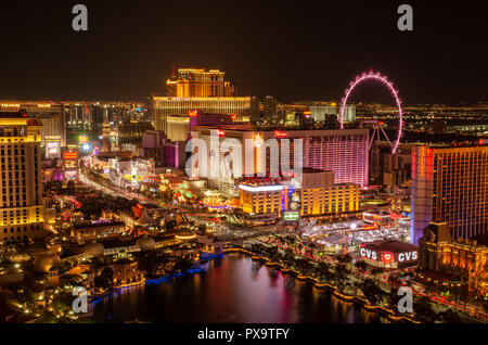 Long exposure of Las Vegas Boulevard in Las Vegas at night - Stock Photo