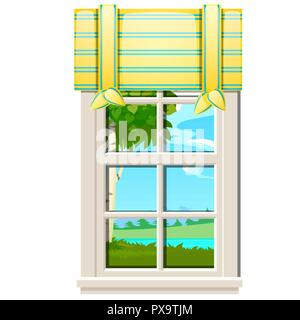 The window overlooking the meadow of green grass in summer isolated on white background. Interior design luxury country house. A lovely day. Vector close-up cartoon illustration. - Stock Photo