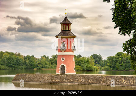 MORITZBURG, GERMANY - AUGUST 21: Lighthouse in the public park of the castle of  Moritzburg, Germnay on August 21, 2018. - Stock Photo