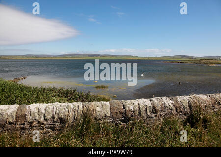 The Loch of Harray, the largest loch of mainland Orkney seen from the Bridge of Brodgar - Stock Photo