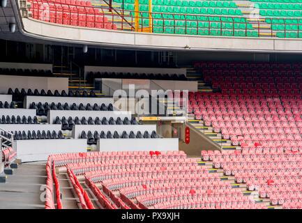 Visiting Giuseppe Meazza Arena. At the tribunes of San Siro - Stock Photo