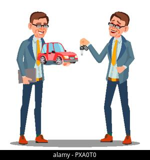 Smiling Insurance Agent Holding A Car In Hand Vector. Isolated Illustration - Stock Photo