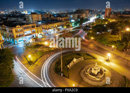Roundabout in the center of Havana at night seen from above - Stock Photo