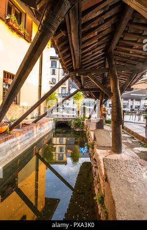Naviglio Grande Beautiful Sunset View with Canal Reflection. Navigli Fashion and Artists District  Europe Landmark in Milan,Italy Stock Photo