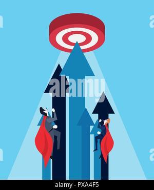 businessmen flying hero target growth arrows vector illustration - Stock Photo