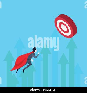 businessman superhero flying target growth arrows vector illustration - Stock Photo
