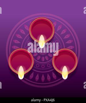 burning diya on mandala background happy diwali celebration vector illustration - Stock Photo