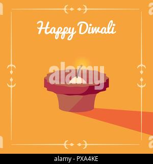 burning diya on yellow background happy diwali celebration vector illustration - Stock Photo