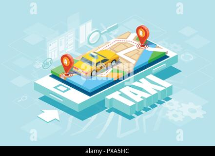 Isometric location mobile geo tracking. Online Taxi oder service app concept. Vector of a yellow cab and GPS route point pins on smartphone - Stock Photo