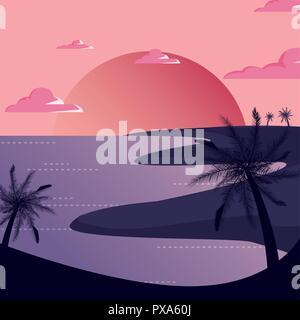 tropical palms beach sunset scene natural landscape vector illustration - Stock Photo