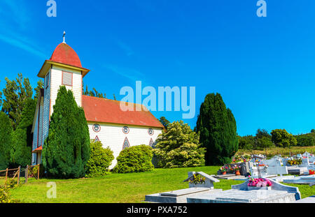 View of Santa Cruz Chapel in Puerto Varas, Chile. Copy space for text - Stock Photo