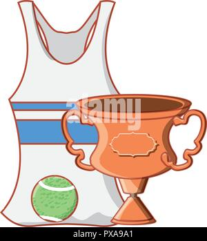 female tennis uniform shirt with trophy cup vector illustration design - Stock Photo