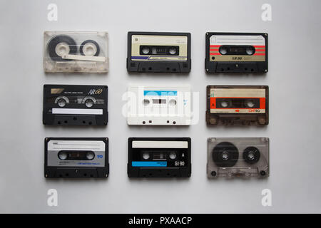 Audio cassettes collection isolated on white background from a high angle view - Stock Photo