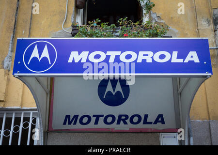 BELGRADE, SERBIA - OCTOBER 18, 2018: Motorola logo on their main retailer for Serbia. Motorola is an american telecommunications company spread worldw - Stock Photo