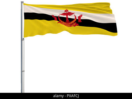 Isolate flag of Brunei on flagpole fluttering in wind on white, 3d rendering - Stock Photo
