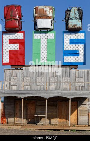 STURGIS, SOUTH DAKOTA, September 10, 2018 : Full throttle Saloon is called the World Largest Biker Bar. Events for numbers of bikers stand here each y - Stock Photo
