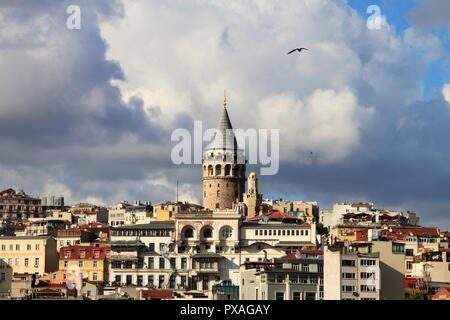 Historical Galata Tower, Istanbul - Stock Photo