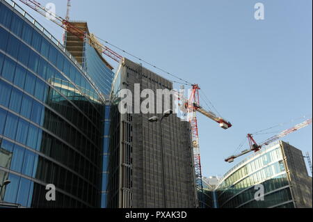 Milan Italy September 2, 2009: construction of a new district with gratacelo in Milan - Stock Photo