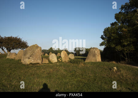Around 5000 year old megalithic great dolmen near Nobbin in the very north of Ruegen Island in the Baltic Sea in Northeastern Germany. - Stock Photo