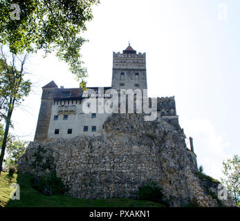 Bran Castle, also known as Dracula's Castle, associated with VladII, the Impaler, located near Brasov, between Transylvania and Wallachia in Romania. - Stock Photo