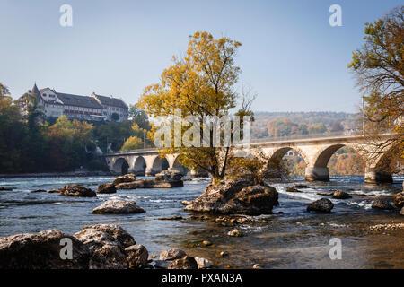 The river Rhine near the Rhine Falls, Neuhausen am Rheinfall, Switzerland - Stock Photo