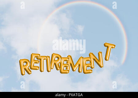 Happy retirement concept, blue sky, rainbow. Freedom, dreams and hopes with text word. Bright optimistic future. - Stock Photo