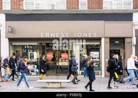 Ernest Jones jewellers in Oxford Street, London. - Stock Photo