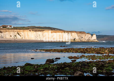 Low tide at Freshwater Bay, Isle of Wight, England - Stock Photo