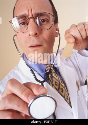 A doctors visit from a patient's personal perspective or view and doctor looking into patients mouth - Stock Photo