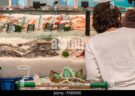 Sydney fishmonger  selling fresh seafood,mussels and oysters,Sydney,Australia - Stock Photo