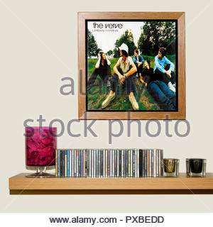 CD Collection and framed The Verve 1997 album Urban Hymns, England - Stock Photo