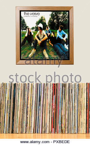 LP Collection and framed The Verve 1997 album Urban Hymns, England - Stock Photo