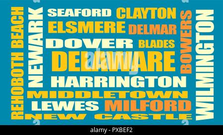 delaware state cities list - Stock Photo