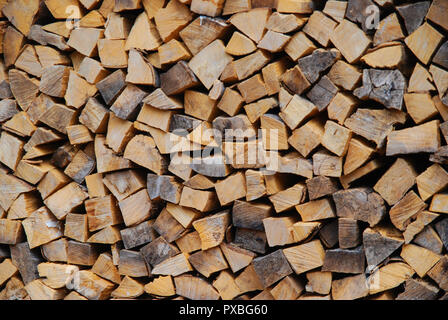 Firewood piled up for winter - Stock Photo