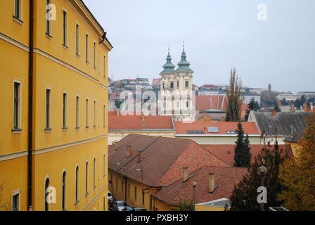 Eger´s St. Anthony of Padua church viewed from the distance. - Stock Photo