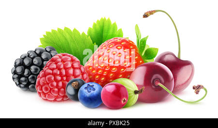 Isolated berries. Pile of fresh fruits (blackberry, raspberry, black currant, blueberry, cranberry, gooseberry, strawberry and cherries) isolated on w - Stock Photo