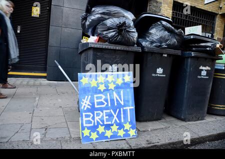London, UK. 20th Oct, 2018. bin brexit sign next to bins peoples vote anti brexit march london october 20th 2018 Credit: simon leigh/Alamy Live News - Stock Photo