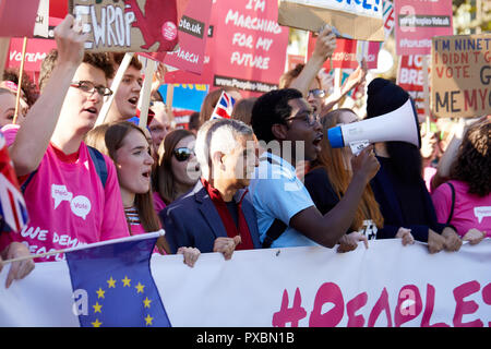 London, UK. 20th Oct, 2018. London Mayor Sadiq Khan at the  People's Vote march Credit: Kevin J. Frost/Alamy Live News - Stock Photo