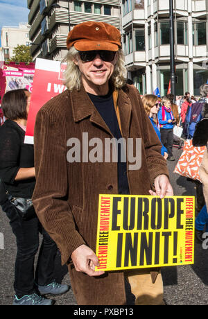 London, UK. 20th Oct, 2018. Hundreds of thousands of people from across the UK join a march and rally in support of a Peoples Vote (Referendum) on the final Brexit deal with an option to remain inside the EU. Starting in Park Lane, the march ended in Parliament Square where there were speeches from leading campaigners. The emphasis of the march was on young people who will be affected by the consequences for longer. More info: www.peoples-vote. Credit: Bob Broglia/Alamy Live News - Stock Photo