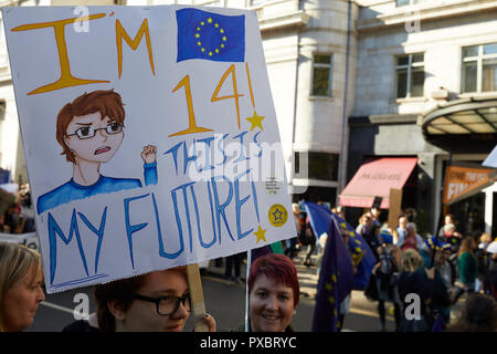 London, UK. 20th Oct, 2018. A placard held aloft by a 14 year old at the People's Vote march. Credit: Kevin J. Frost/Alamy Live News - Stock Photo