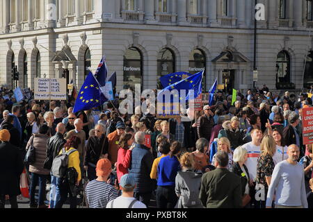 London, UK. 20th Oct, 2018. Hundreds of thousands young voters attend People's vote march seeking a referendum on the final Brexit deal. Credit: Andis Atvars / Alamy Live News - Stock Photo