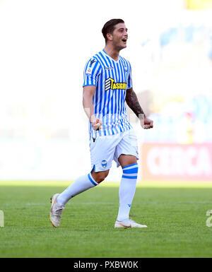 Rome, Italy. 20th Oct, 2018. Spal's Kevin Bonifazi celebrates his goal during an Italian Serie A soccer match between AS Roma and Spal in Rome, Italy, Oct. 20, 2018. Spal won 2-0. Credit: Augusto Casasoli/Xinhua/Alamy Live News - Stock Photo