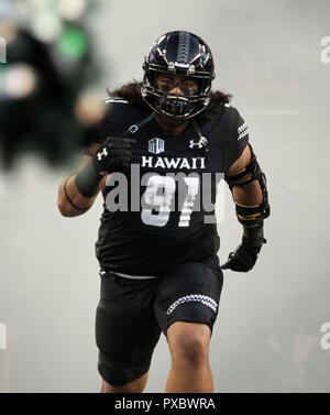 October 20, 2018 - Hawaii Rainbow Warriors defensive lineman Samiuela Akoteu #91 during a game between the Hawaii Rainbow Warriors and the Nevada Wolf Pack at Aloha Stadium in Honolulu, HI - Michael Sullivan/CSM - Stock Photo